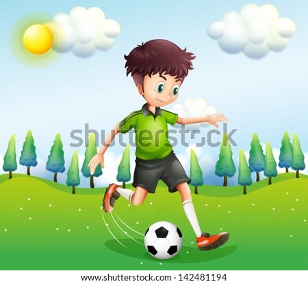 Illustration of a boy playing football in the hill - stock vector