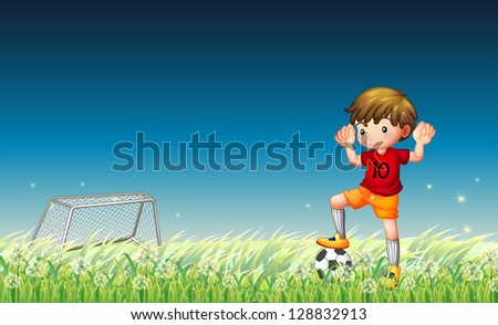 Illustration of a boy playing soccer