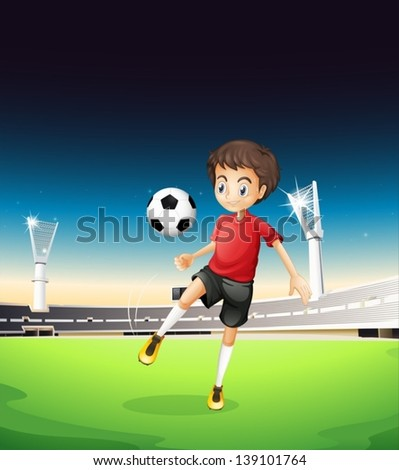 Illustration of a boy playing soccer alone - stock vector