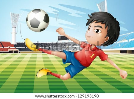 Illustration of a boy playing soccer at the soccer field - stock vector