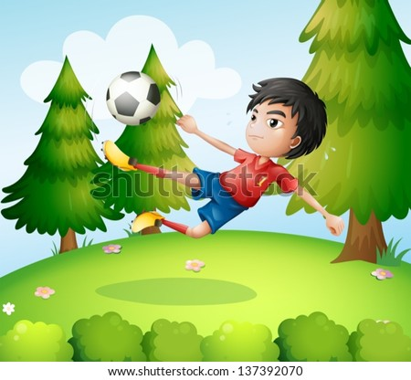 Illustration of a boy playing soccer near the pine trees - stock vector