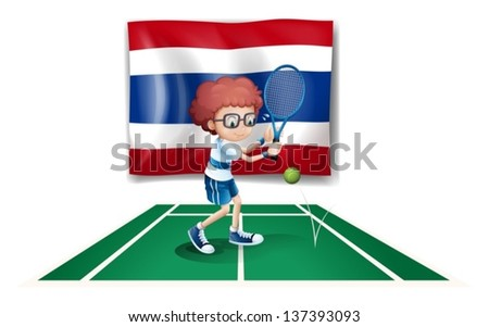 Illustration of a boy playing tennis in front of the Thailand flag on a white background