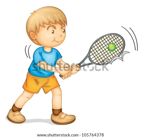 illustration of a boy playing tennis on a white background - stock vector