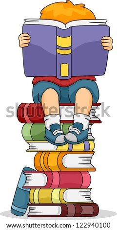 Illustration of a Boy Reading a Book While Sitting on a Pile of Other Books - stock vector