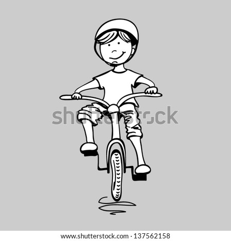 Illustration of a boy riding a bicycle, vector - stock vector