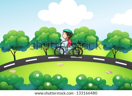 Illustration of a boy riding in his bike at the street