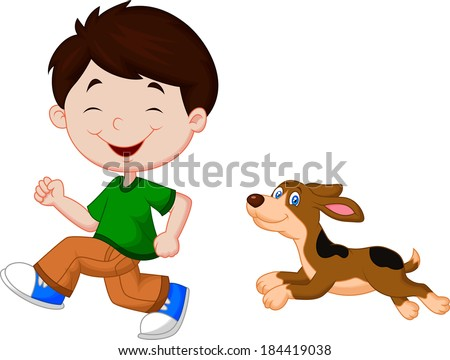 Illustration of a boy running with his pet - stock vector