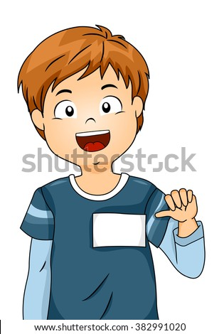 Illustration of a Boy Showing His Blank Name Tag - stock vector