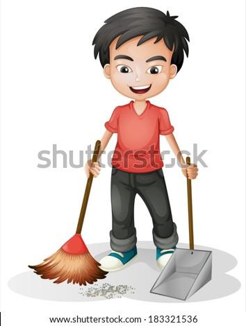 Illustration Boy Sweeping Dirt On White Stock Vector