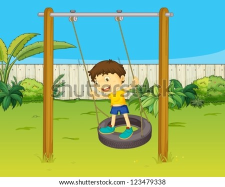 Illustration of a boy swinging on a wheel in a beautiful nature