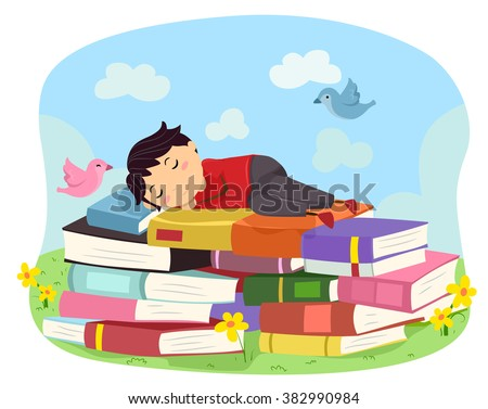 Illustration of a Boy while Sleeping on Books - stock vector