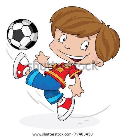 illustration of a boy with a ball - stock vector