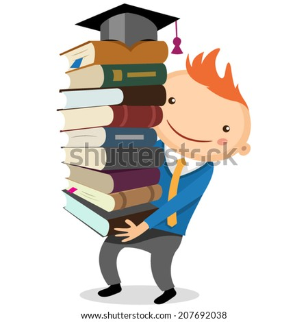 illustration of a boy with a big stack of books - stock vector