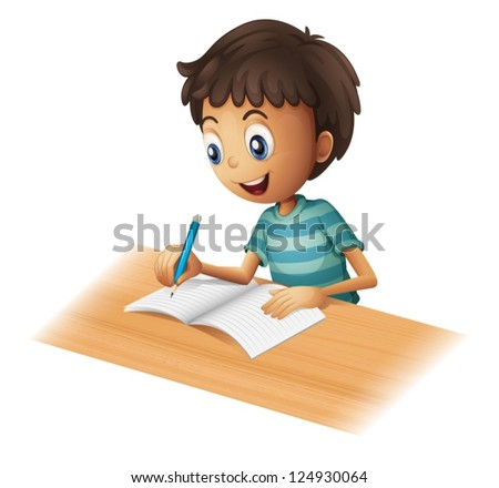 Illustration of a boy writing on a white background - stock vector