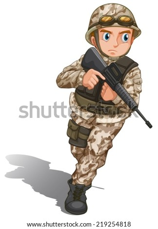 Illustration of a brave soldier with a gun on a white background  - stock vector