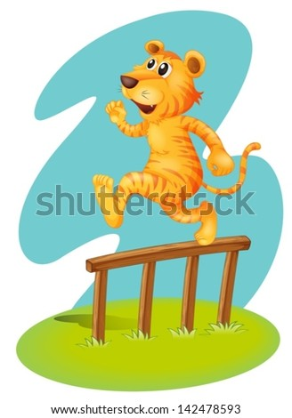 Illustration of a brave tiger jumping over the wooden fence on a white background