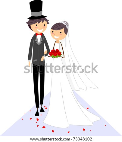 Illustration of a Bride and Groom Walking on the Aisle