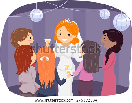 Illustration of a Bride Entertaining Their Guests at the Reception Area - stock vector