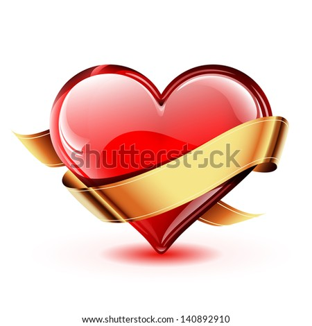 Illustration of a bright and glossy vector heart with a golden ribbon - stock vector