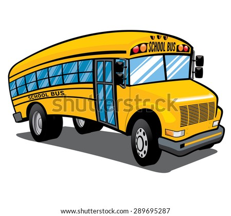 illustration of a bright yellow children's school bus