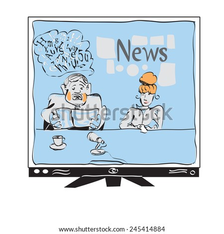Illustration of a broadcaster reading news on TV, concept of modern mass media