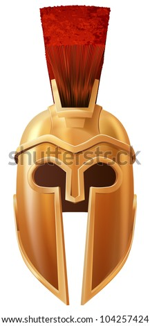 Illustration of a bronze Corinthian or Spartan helmet like those used in ancient Greece or Rome - stock vector