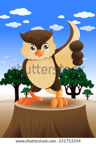 illustration of a brown fat owl smiling on nature background - stock vector