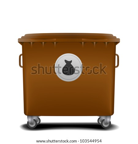 illustration of a brown recycling bin with trash symbol - stock vector