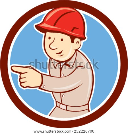 Illustration of a builder construction worker wearing hardhat pointing looking to the side set inside circle on isolated background done in retro style.