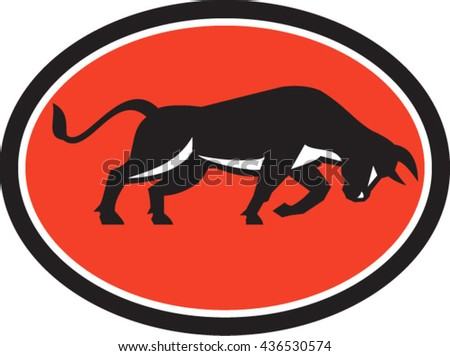 Illustration of a bull attacking charging viewed from the side set inside oval shape on isolated background done in retro style.  - stock vector
