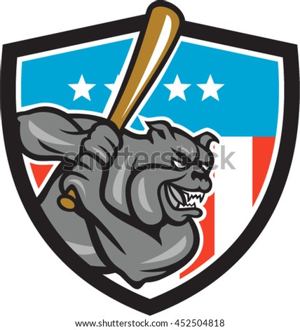 Illustration of a bulldog baseball player batter hitter batting viewed from side set inside shield crest with usa stars and stripes flag in the background done in retro style.