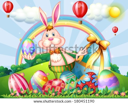 Illustration of a bunny at the hilltop with Easter eggs - stock vector