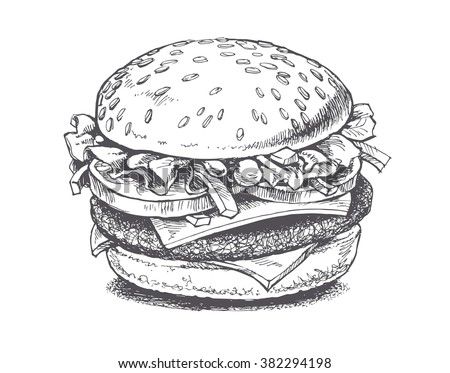 illustration of a burger, vector drawing - stock vector