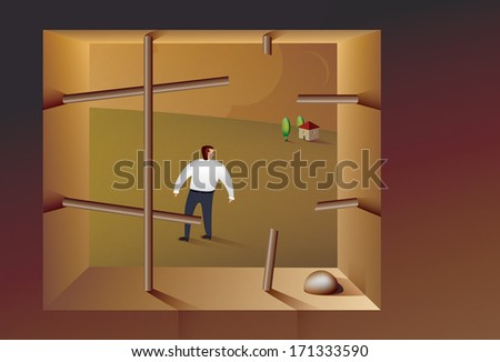 Illustration of a business man escaping from prison - stock vector