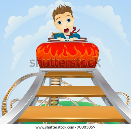 Illustration of a business man looking very scared on a roller coaster