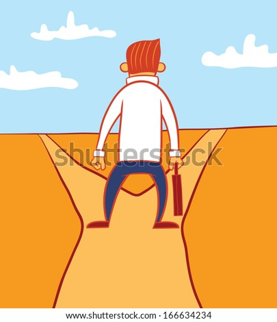 Illustration of a business man standing at a crossroad - stock vector