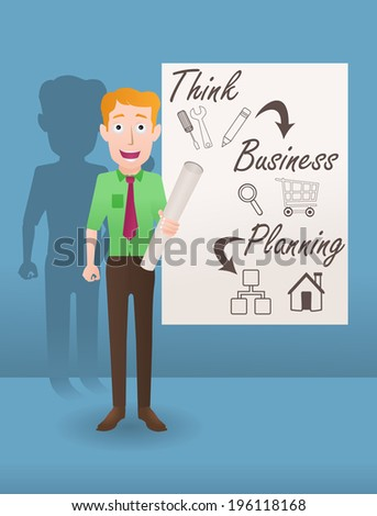 illustration of a businessman hold papers on his hands and happy successful on business plan - stock vector