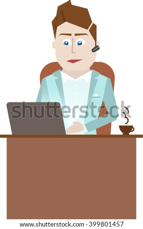 Illustration of a businessman sitting at a desk with a laptop and a cup of coffee