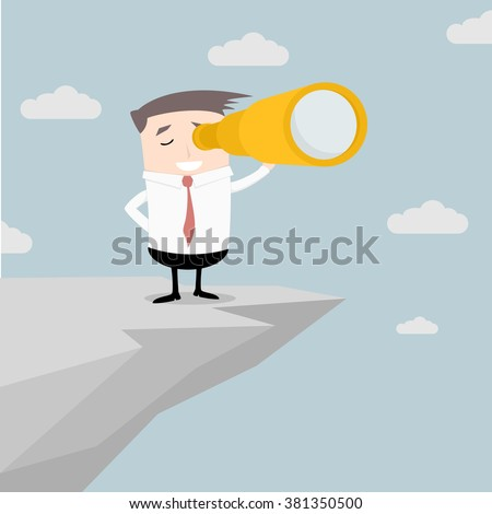 illustration of a businessman standing on a cliff with a spyglass in his hand, eps10 vector - stock vector