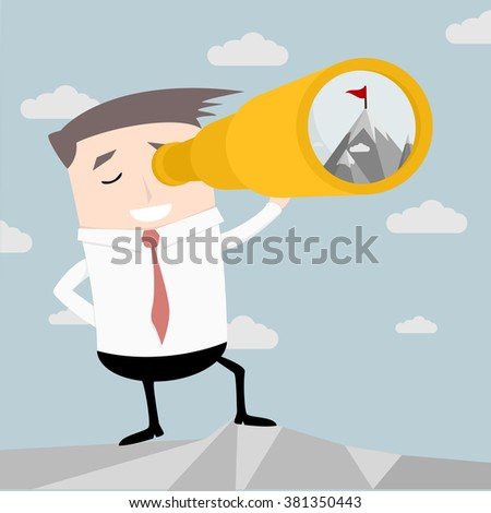illustration of a businessman with spyglass finding a goal, eps10 vector