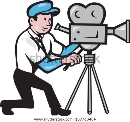 Illustration of a cameraman movie director with vintage movie film camera set viewed from side done in cartoon style. - stock vector