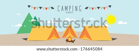 illustration of a camp site. (Day) - stock vector