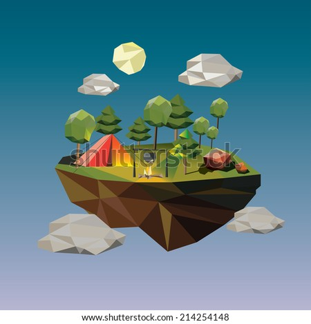 illustration of a camp site on island in the sky - stock vector