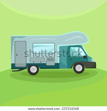Illustration of a camper - stock vector