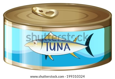 Illustration of a can of tuna on a white background - stock vector