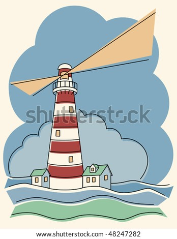 Illustration of a candy cane lighthouse. - stock vector