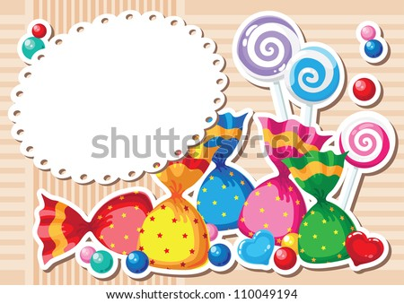 illustration of a candy sticker background - stock vector