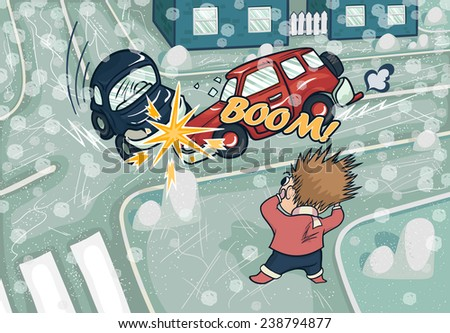 Illustration of a car accident at the crossroads. Crash and frightened man at the crossroads. Illustration of winter crash. Snowfall and sleet.