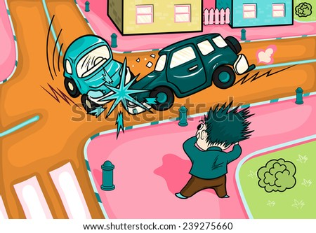 Illustration of a car accident at the crossroads. Crash and frightened man at the crossroads. - stock vector