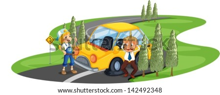Illustration of a car accident at the road near the pine trees on a white background - stock vector